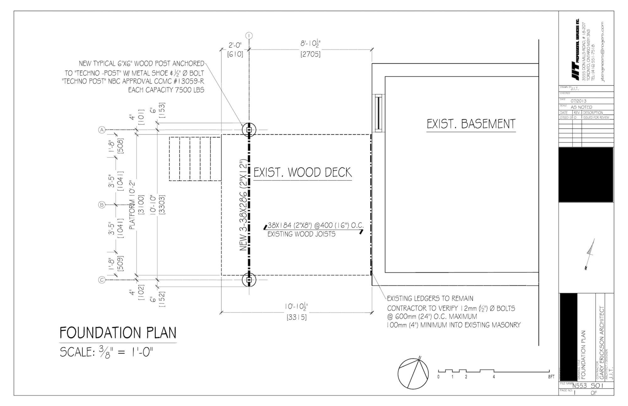 Engineering deck drawing.
